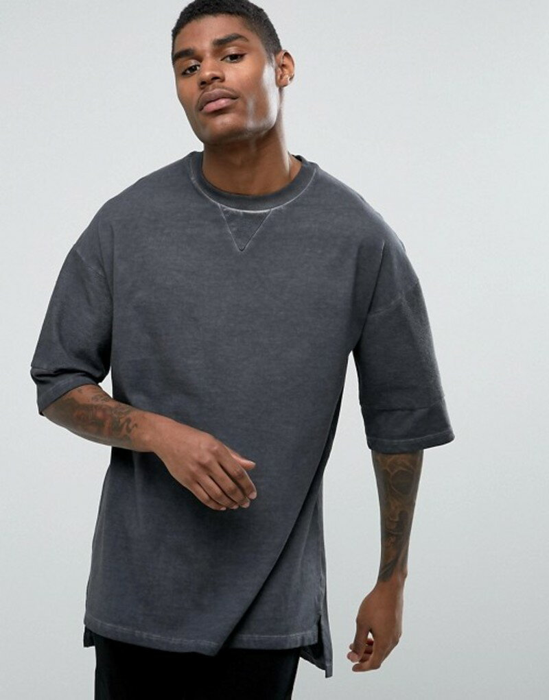 エイソス メンズ Tシャツ トップス ASOS Oversized T-Shirt With Subtle Wash And Half Sleeve In Washed Black Atlantic