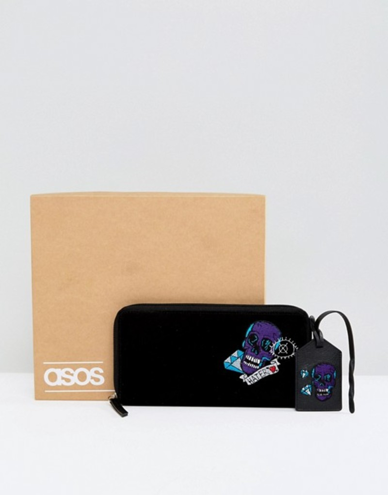 エイソス メンズ 財布 アクセサリー ASOS Leather Gift Set With Embroidered Travel Wallet & Tag Black