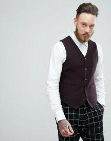 エイソス メンズ タンクトップ トップス ASOS Skinny Texture Vest In Burgundy Wool Mix Burgundy