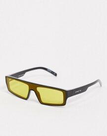 アーネット メンズ サングラス・アイウェア アクセサリー Arnette x Post Malone black sunglasses with yellow lens Black