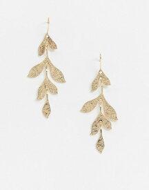 フレンチコネクション レディース ピアス・イヤリング アクセサリー French Connection leaf drop gold earrings Gold