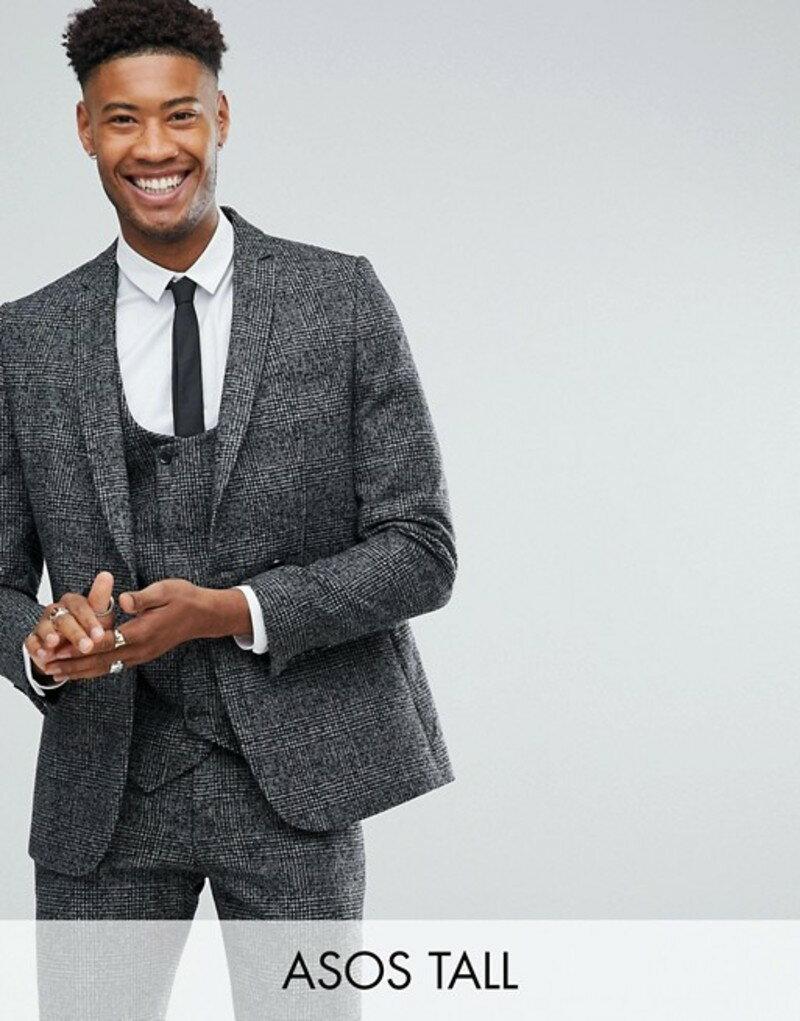 エイソス メンズ ジャケット・ブルゾン アウター ASOS TALL Slim Suit Jacket In Moons Wool Rich Monochrome Check Black