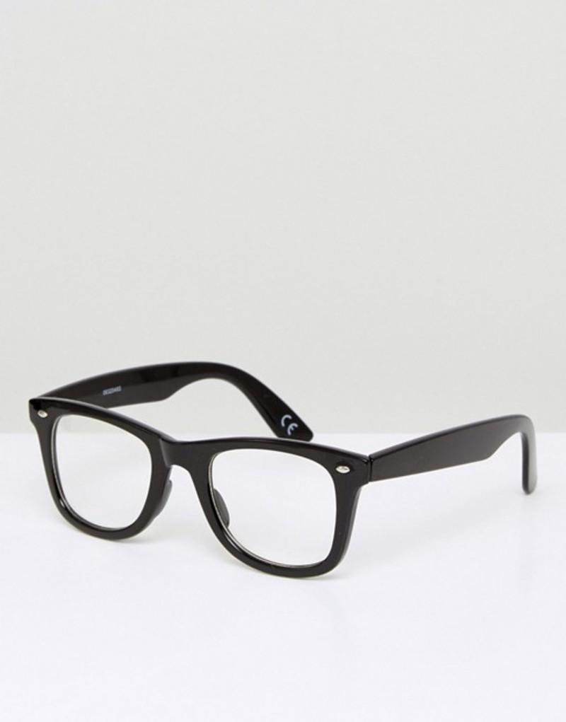 エイソス メンズ サングラス・アイウェア アクセサリー ASOS Square Glasses In Black With Clear Lens Black