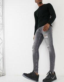 リバーアイランド メンズ デニムパンツ ボトムス River Island spray on jeans with rips in gray Gray