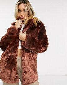 アイビーレベル レディース コート アウター Ivyrevel soft faux fur coat in burgundy Burgundy