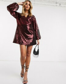 アイビーレベル レディース ワンピース トップス Ivyrevel sequin mini dress with flared sleeves in burgundy Burgundy