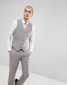 エイソス メンズ タンクトップ トップス ASOS Skinny Suit Vest In Pink Flecked Wool Blend Pink