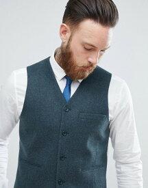 エイソス メンズ タンクトップ トップス ASOS Skinny Suit Vest In Teal Green Wool Blend Green