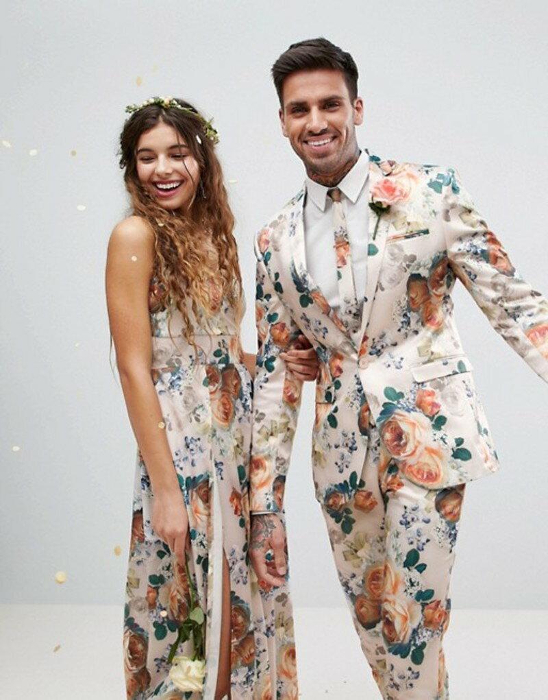 エイソス メンズ ジャケット・ブルゾン アウター ASOS Wedding Super Skinny Suit Jacket In Champagne Floral Cream