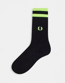フレッドペリー レディース 靴下 アンダーウェア Fred Perry neon twin tipped socks with embroidered logo in black Black