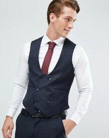 エイソス メンズ タンクトップ トップス ASOS Skinny Suit Vest In Navy 100% Wool Navy