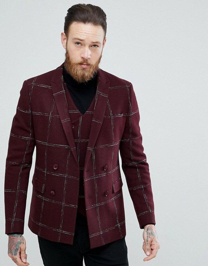 エイソス メンズ ジャケット・ブルゾン アウター ASOS Slim Double Breasted Blazer In Moons Wool Rich Burgundy Check Burgundy