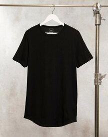 リバーアイランド メンズ シャツ トップス River Island curved hem longline t-shirt in black Black