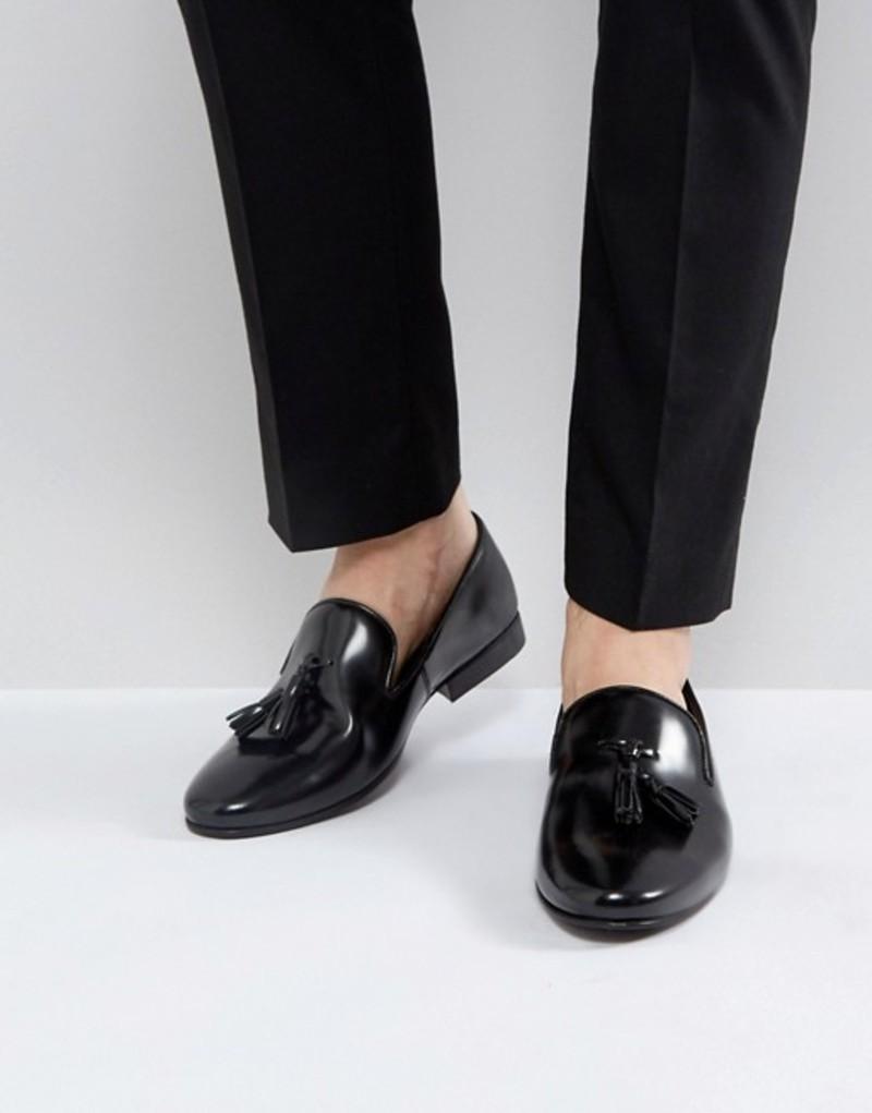 ウォークロンドン メンズ スリッポン・ローファー シューズ Walk London Strutt Hi Shine Tassel Loafers Black