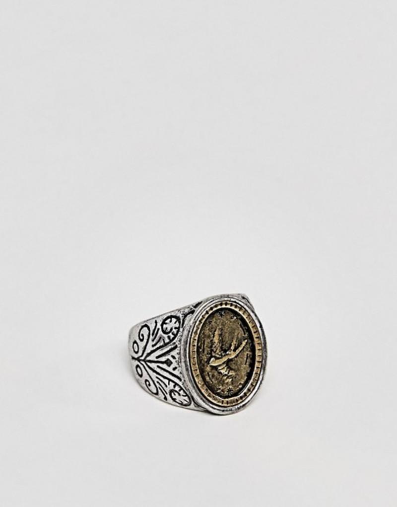 クラシックセブンティーセブン メンズ 指輪 アクセサリー Classics 77 Patterned Signet Ring In Antique Silver Silver