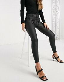 リバーアイランド レディース デニムパンツ ボトムス River Island Molly waxed coated skinny jeans in black Black