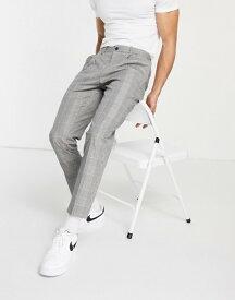 リバーアイランド メンズ カジュアルパンツ ボトムス River Island pleated dressy pants in plaid Ecru