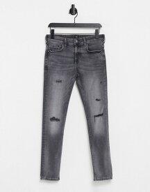 リバーアイランド メンズ デニムパンツ ボトムス River Island skinny jeans with rips in gray Grey