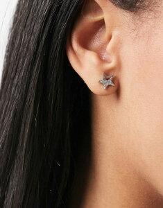 ピーシーズ レディース ピアス・イヤリング アクセサリー Pieces cutout rhinestone star stud earrings in silver Silver