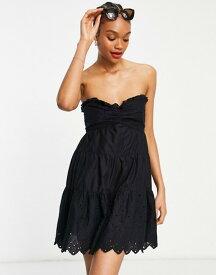 リバーアイランド レディース ワンピース トップス River Island broderie bandeau mini beach dress in black Black