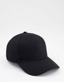 エイソス メンズ 帽子 アクセサリー ASOS DESIGN baseball cap in black waffle texture Black