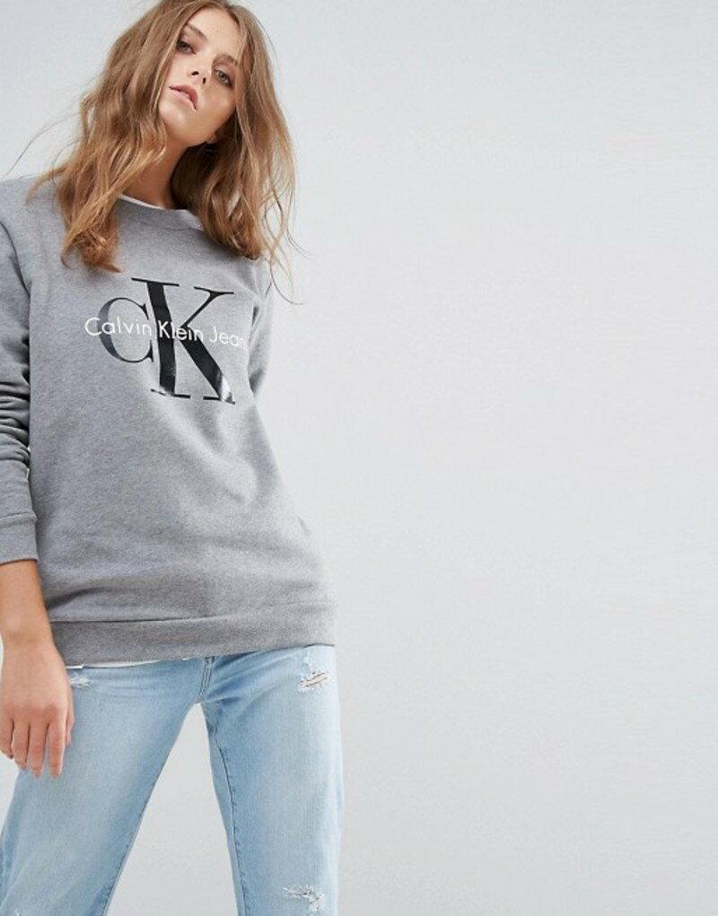 カルバンクライン レディース パーカー・スウェット アウター Calvin Klein Jeans Logo Sweatshirt Light grey heather
