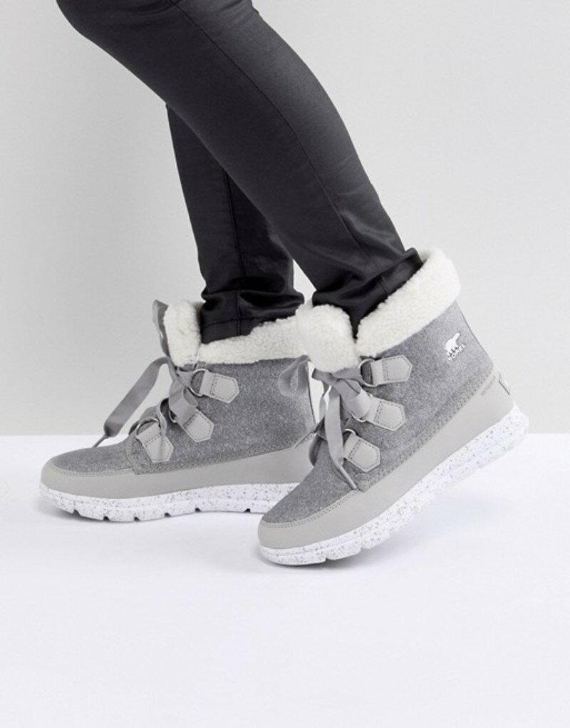 ソレル レディース ブーツ・レインブーツ シューズ Sorel Explorer Carnival Gray Waterproof Flat Boots 081 dove
