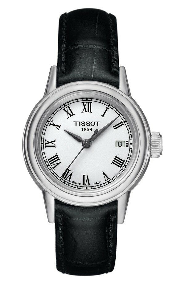 ティソット レディース 腕時計 アクセサリー Tissot Carson Leather Strap Watch, 28mm Black/ White/ Silver