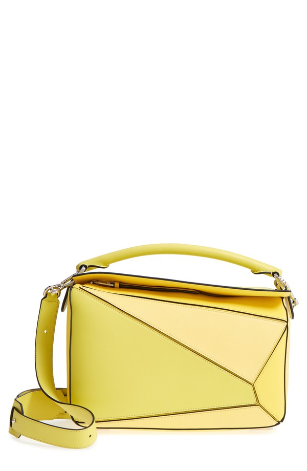 ロエベ レディース ショルダーバッグ バッグ Loewe Medium Puzzle Calfskin Leather Shoulder Bag Yellow Multitone