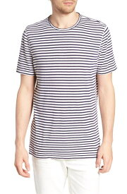 エージー メンズ Tシャツ トップス AG Theo Striped Cotton & Linen T-Shirt Natural/ Navy