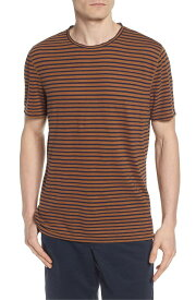 エージー メンズ Tシャツ トップス AG Theo Striped Cotton & Linen T-Shirt Bronze Clay/ Navy