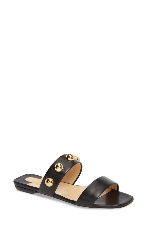 クリスチャン・ルブタン レディース サンダル シューズ Christian Louboutin Simple Bille Ornament Slide Sandal (Women) Black/ Gold