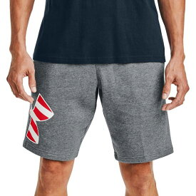 アンダーアーマー メンズ ハーフパンツ・ショーツ ボトムス Under Armour Men's Freedom Rival Big Flag Logo Shorts Pitch Gray Med Heathr/Wht