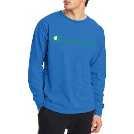 チャンピオン メンズ シャツ トップス Champion Men's Classic Jersey Script Logo Graphic Long Sleeve Shirt Balboa Blue