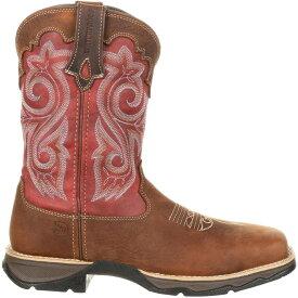 ドゥランゴ レディース ブーツ・レインブーツ シューズ Durango Women's Lady Rebel Waterproof Composite Toe Western Work Boots Briar Brown/Rusty Red