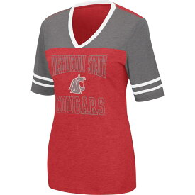 コロシアム レディース Tシャツ トップス Colosseum Women's Washington State Cougars Crimson Cuba Libre V-Neck T-Shirt