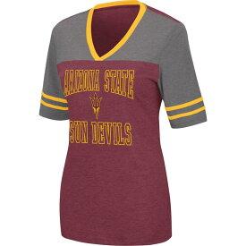 コロシアム レディース Tシャツ トップス Colosseum Women's Arizona State Sun Devils Maroon Cuba Libre V-Neck T-Shirt