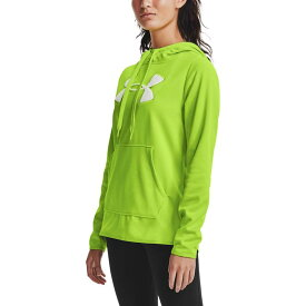 アンダーアーマー レディース パーカー・スウェット アウター Under Armour Women's Armour Fleece Chenille Shine Pullover Hoodie Green Citrine/White