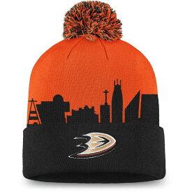 ファナティクス メンズ 帽子 アクセサリー NHL Men's Anaheim Ducks Hometown Black Pom Knit Beanie