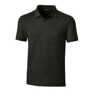 カッターアンドバック メンズ シャツ トップス Cutter & Buck Men's Forge Pencil Stripe Tailored Fit Golf Polo Black