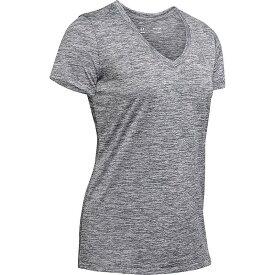 アンダーアーマー レディース Tシャツ トップス Under Armour Women's UA Tech Twist V-Neck Tee Pitch Grey / Metallic Silver