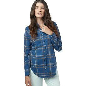テンツリー レディース シャツ トップス Tentree Women's Lush LS Button Up Sooke Plaid / Dark Ocean Blue