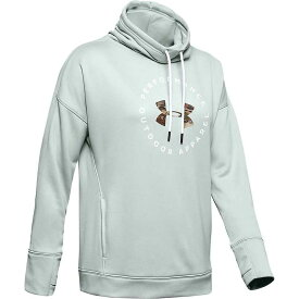 アンダーアーマー レディース パーカー・スウェット アウター Under Armour Women's Terry Graphic Funnel Neck Hoodie Atlas Green / Onyx White