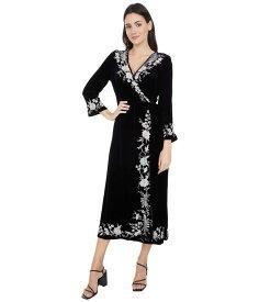 ジョニーワズ レディース ワンピース トップス Erith Velvet Kimono Wrap Dress Black
