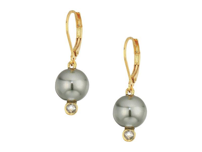 コールハーン レディース ピアス・イヤリング アクセサリー Pearl Drop Earrings with Cubic Zirconia Accents Lever Back Closure Gold/Clear Cubic Zirconia/Dark Grey Glass Pearl