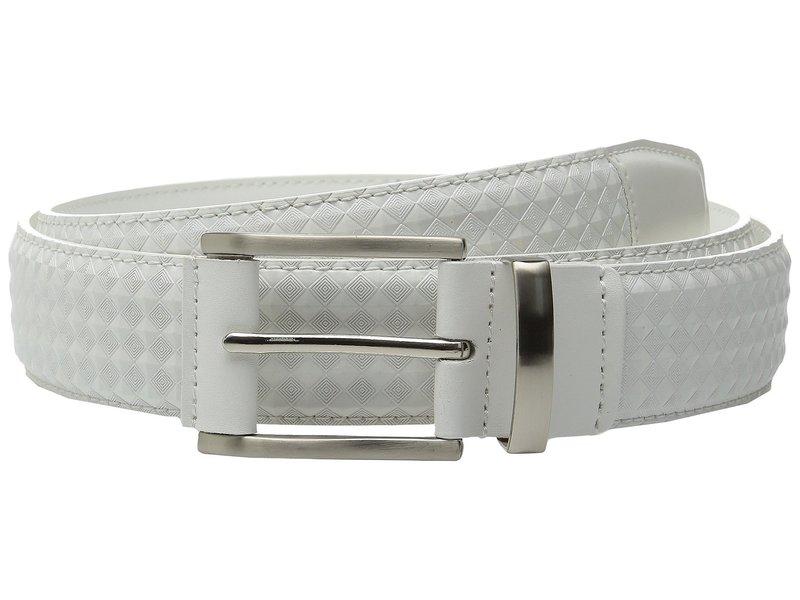 ステイシーアダムス メンズ ベルト アクセサリー Fidello 35mm Diamond Embossed Belt White