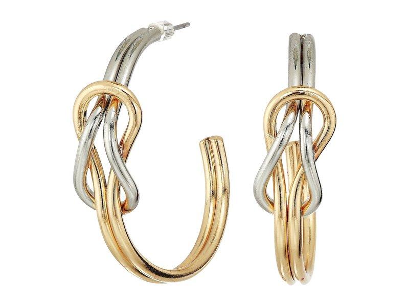 ケネスジェイレーン レディース ピアス・イヤリング アクセサリー Gold and Silver Knotted Hoop Post Earrings Gold/Silver