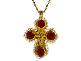 ケネスジェイレーン レディース ネックレス・チョーカー・ペンダントトップ アクセサリー Red Opal/Pearl Cross on Gold Chain Red