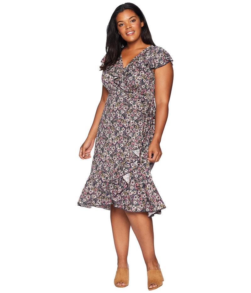 キヨナ レディース ワンピース トップス Phoebe Flounce Wrap Dress Mixed Peony Print