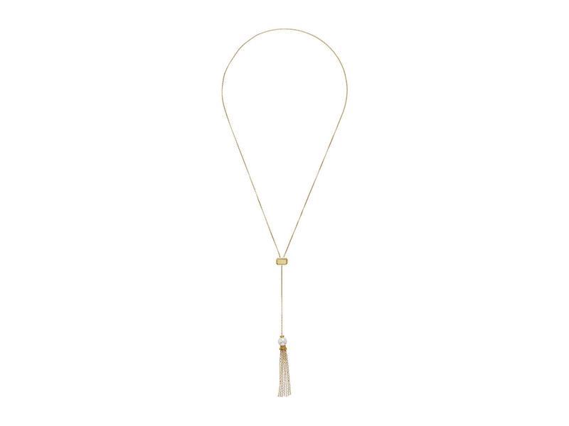 """マジョリカ レディース ネックレス・チョーカー・ペンダントトップ アクセサリー Gatsby 9 mm Round Pearl on Gold Plated Steel Tassle 31"""" Adjustable Necklace White"""